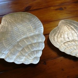 Capiz Snail Dish Décor Sea Shells 2 Pc Set New!